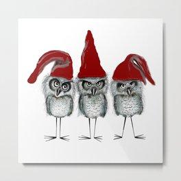 Christmas owls Metal Print