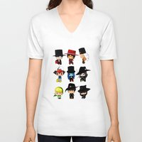 anime V-neck T-shirts featuring Anime Hatters by artwaste
