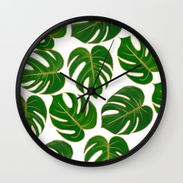 Modern hand painted green faux gold monster leaves Wall Clock