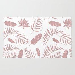 Tropical leaves pattern pink Rug