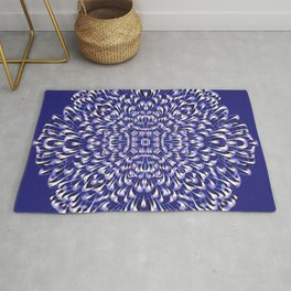 Deep Blue Symmetrical Mandala Flower - Geometric Abstract Decorative Floral Art - Boho Free Spirit Rug