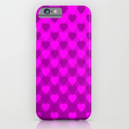 Zigzag of iridescent pink hearts staggered on a violet background. iPhone Case