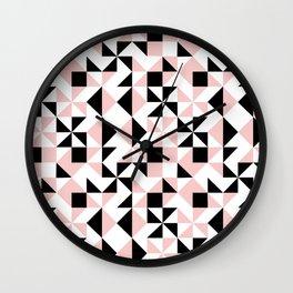 Eva - rose quartz quilt squares hipster retro geometric minimal abstract pattern print black pink Wall Clock