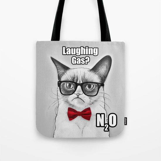 Grumpy Chemistry Cat Geek Science Meme Whimsical Animals in Glasses Tote Bag