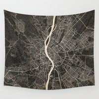 budapest Wall Tapestries featuring budapest map ink lines by NJ-Illustrations