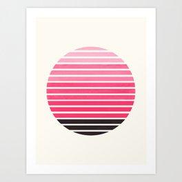 Pink Mid Century Modern Minimalist Scandinavian Colorful Stripes Round Circle Frame Art Print