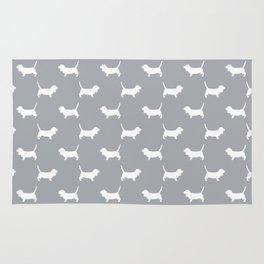 Basset Hound silhouette grey and white dog art dog breed pattern simple minimal Rug