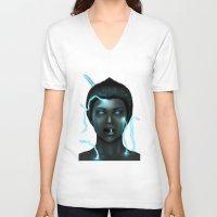 lightning V-neck T-shirts featuring Lightning by Egberto Fuentes