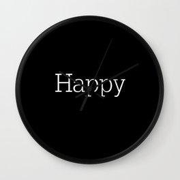 HAPPY! Black & White Wall Clock