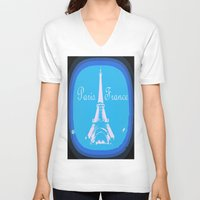 france V-neck T-shirts featuring Paris France by WhimsyRomance&Fun