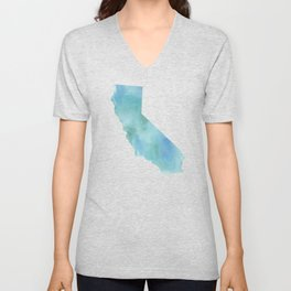 Watercolor State Map - California CA blue green Unisex V-Neck