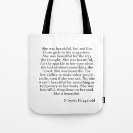 fitzgerald she was beautiful Tote Bag