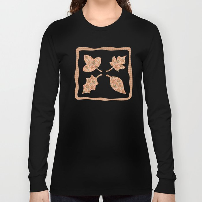Woodland Forest Plants under the Fall Sun Light , Muted Colors Pattern Illustration Long Sleeve T-shirt
