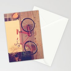 Vintage and Retro Pink Bicycle on the Street Stationery Cards