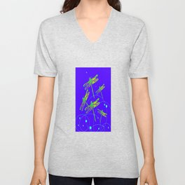 Green-Yellow Swamp Dragonflies Purple-Blue Pattern Abstract  Unisex V-Neck