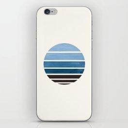 Blue Green Mid Century Modern Minimalist Circle Round Photo Staggered Sunset Geometric Stripe Design iPhone Skin