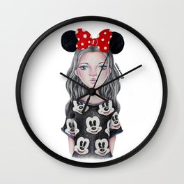 Minnie Mouse Inspired Style Girl Drawing Wall Clock