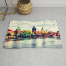 Prague panorama watercolor Rug