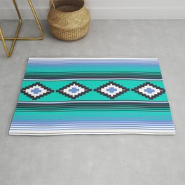 Modern Mexican Serape in Teal Rug