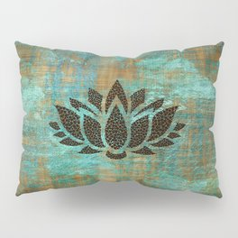 Elephants Lotus Flower Distressed Mandala Design Pillow Sham