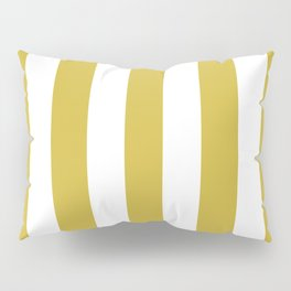 Old gold beige - solid color - white vertical lines pattern Pillow Sham