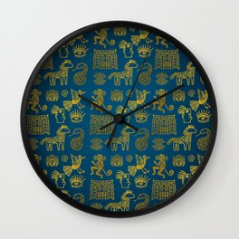 Aztec ancient animal gold symbols on teal Wall Clock
