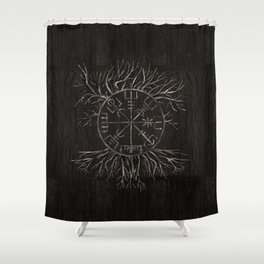 Vegvisir and Tree of life Yggdrasil Shower Curtain