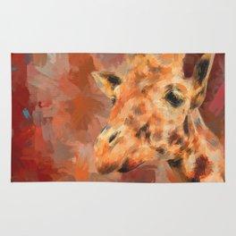 Long Necked Friend Giraffe Art Rug