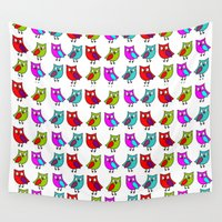 owls Wall Tapestries featuring Owls by BlackBlizzard