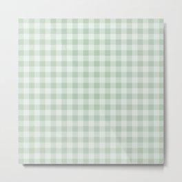 Gingham Pattern - Light Green Metal Print