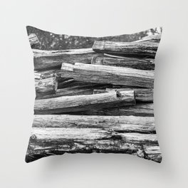 Hand Cut Lumber From Dismantled Log Barn 1 Throw Pillow
