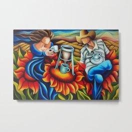 Coffee on flowers Metal Print