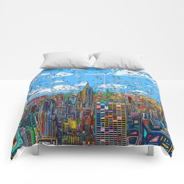 new york city skyline colorful Comforters