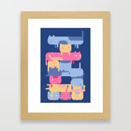Stacked Cats Framed Art Print