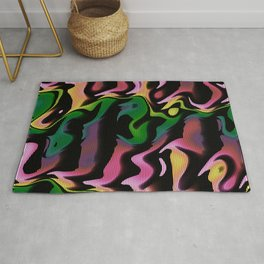 Psychedelic Fluorescent Graffiti Wall Rug