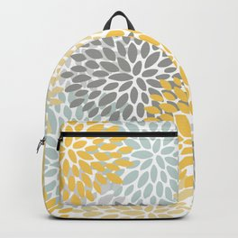 Floral Pattern, Yellow, Pale, Aqua, Blue and Gray Backpack