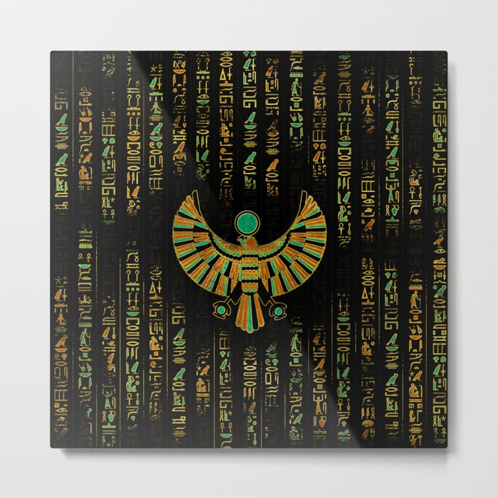 Egyptian Horus Falcon gold and color crystal Metal Print