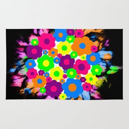 Retro Flower Puff Balls Rug