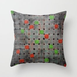 Grid with Green and Orange Highlights Throw Pillow