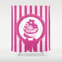 cupcake Shower Curtains featuring Cupcake by tiphaine peron