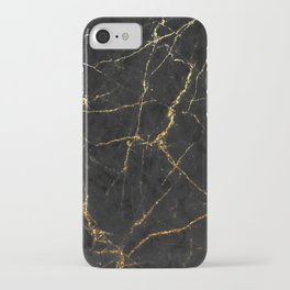 Gold Glitter and Black marble iPhone Case
