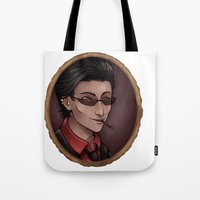 crowley Tote Bags featuring Crowley (white) by Abbi Laura