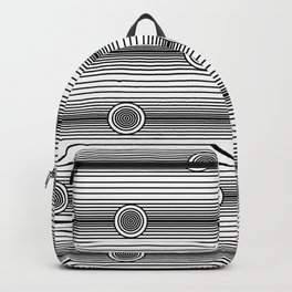 Concentric Circles and Stripes in Black and White Backpack