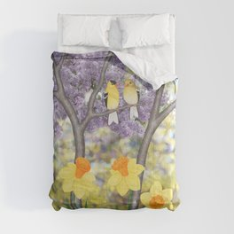 goldfinches, lilacs, & daffodils Comforters