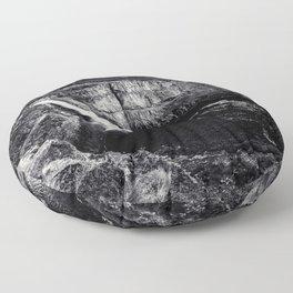 Hidden Waterfall Black and White Floor Pillow