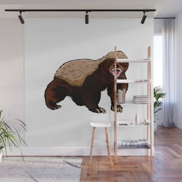 Honey badger illustration Wall Mural