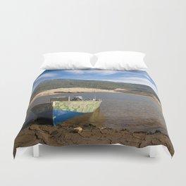 Boat At Water's Edge Duvet Cover