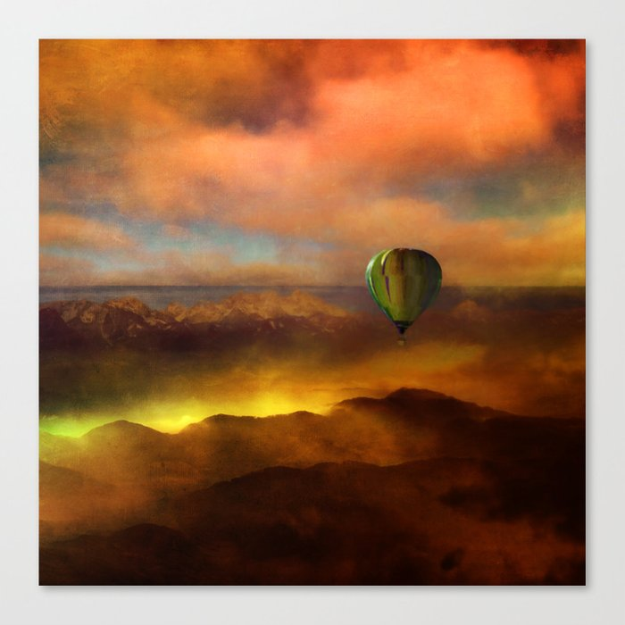 Sunset with Balloon Canvas Print