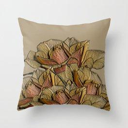 Elegant Copper and Bronze Roses Throw Pillow