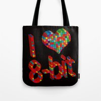 8 bit Tote Bags featuring i heart 8-bit by frederic levy-hadida